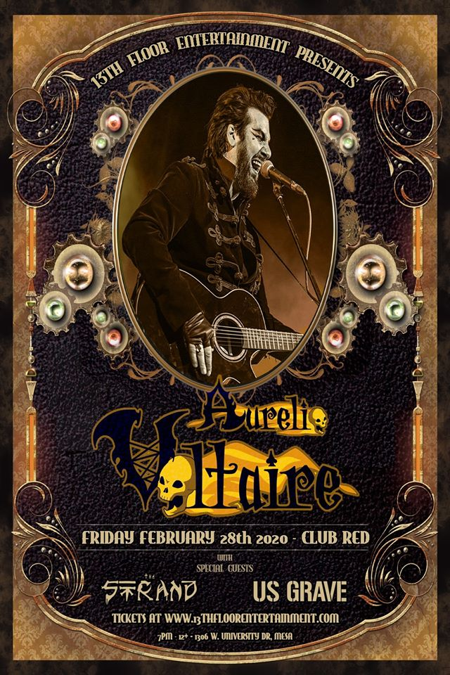 a flyer for Aurelio Voltaire with US Grave and The Strand at Club Red in Mesa Arizona
